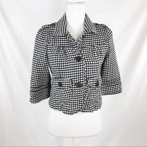 Roxy S Black & White Houndstooth 3/4 Sleeve Blazer